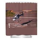 Helicopter Landing In Victoria, British Columbia Shower Curtain