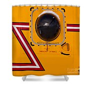 Helicopter Porthole Window Mirrors Rotor Blade Shower Curtain