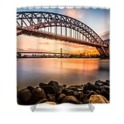 Hell Gate And Triboro Bridge At Sunset Shower Curtain