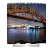 Hell Gate And Triboro Bridge By Night Shower Curtain