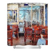 Hellas Restaurant And Bakery  Shower Curtain by L Wright