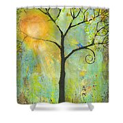 Hello Sunshine Tree Birds Sun Art Print Shower Curtain by Blenda Studio
