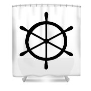 Helm In Black And White Shower Curtain