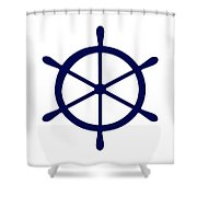 Helm In Navy Blue And White Shower Curtain