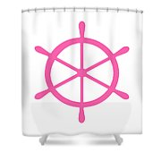 Helm In Pink And White Shower Curtain