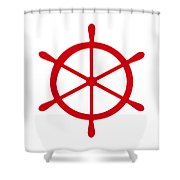 Helm In Red And White Shower Curtain