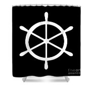 Helm In White And Black Shower Curtain