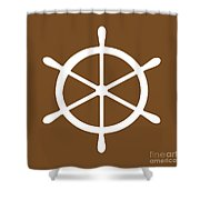 Helm In White And Brown Shower Curtain