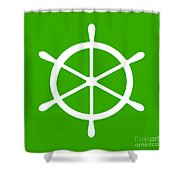 Helm In White And Green Shower Curtain