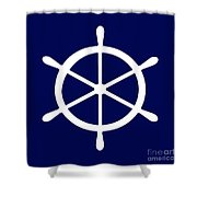 Helm In White And Navy Blue Shower Curtain