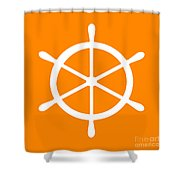 Helm In White And Orange Shower Curtain