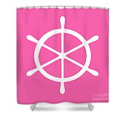 Helm In White And Pink Shower Curtain
