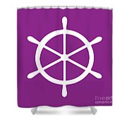 Helm In White And Purple Shower Curtain