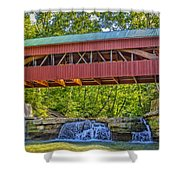 Helmick Mill Or Island Run Covered Bridge  Shower Curtain