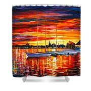Helsinki Sailboats At Yacht Club Shower Curtain by Leonid Afremov