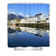 Henningsvaer Harbour Shower Curtain