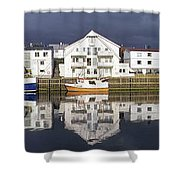 Henningsvaer Panoramic View Shower Curtain