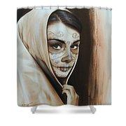 Hepburn De Los Muertos Shower Curtain