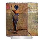 Her Back To The Wall Shower Curtain