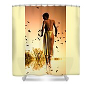 Her Morning Walk Shower Curtain