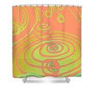 Her Navel Peach Vibrates Pulsates  Shower Curtain