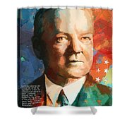 Herbert Hoover Shower Curtain by Corporate Art Task Force