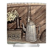 Herbs Bw Shower Curtain