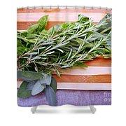Herbs On Cutting Board Shower Curtain