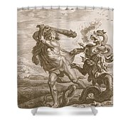 Hercules Fights The Lernian Hydra Shower Curtain