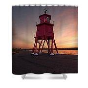 Herd Groyne Lighthouse On The Water S Shower Curtain