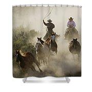 Herding Horses Oregon Shower Curtain