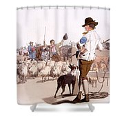 Herdsmen Of Sheep And Cattle, From The Shower Curtain by William Henry Pyne