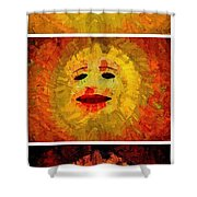 Here Come The Suns Vertical Shower Curtain