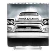 Here Comes The Sun - Gmc 100 Pickup 1958 Black And White Shower Curtain