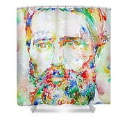 Herman Melville Watercolor Portrait.1 Shower Curtain