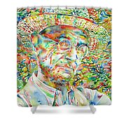 Hermann Hesse With Hat Watercolor Portrait Shower Curtain