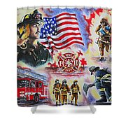 Heroes American Firefighters Shower Curtain