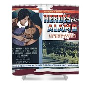 Heroes Of The Alamo Lobby Card 1936 Julian Rivero Collage Color Added 2012 Shower Curtain