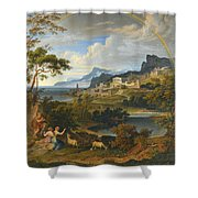 Heroic Landscape With Rainbow Shower Curtain