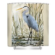 Heron And Cattails Shower Curtain by James Williamson