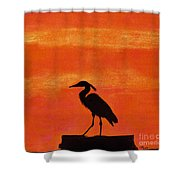 Heron - At - Sunset Shower Curtain