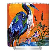 Heron Blue Shower Curtain