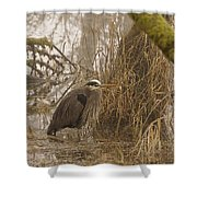 Heron In A Fog Shower Curtain