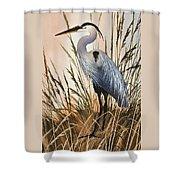 Heron In Tall Grass Shower Curtain
