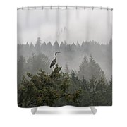 Heron In The Mist Shower Curtain