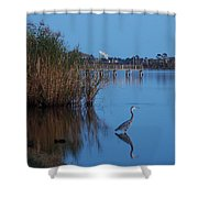 Heron Watching The Sunset Shower Curtain