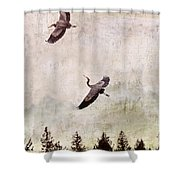 Herons In Flight Monotone Shower Curtain