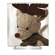 Herringbone Reindeer Shower Curtain by Anne Gilbert