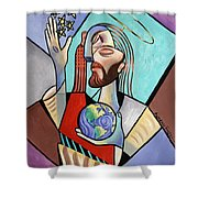 Hes Got The Whole World In His Hand Shower Curtain by Anthony Falbo