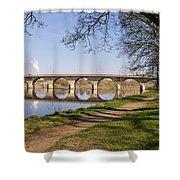 Hexham Bridge And Riverside Path Shower Curtain